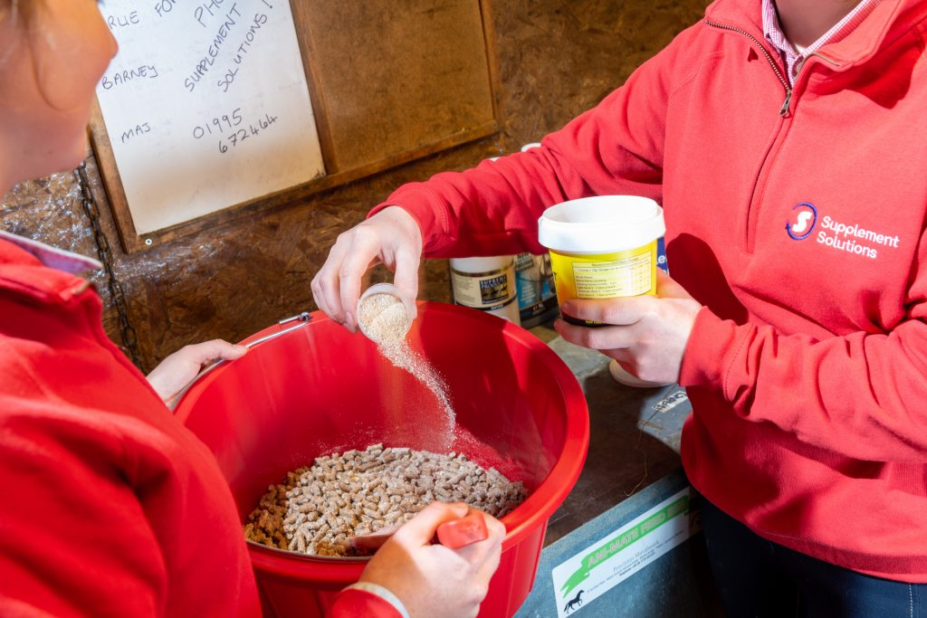 Riders adding horse supplements to feed bucket