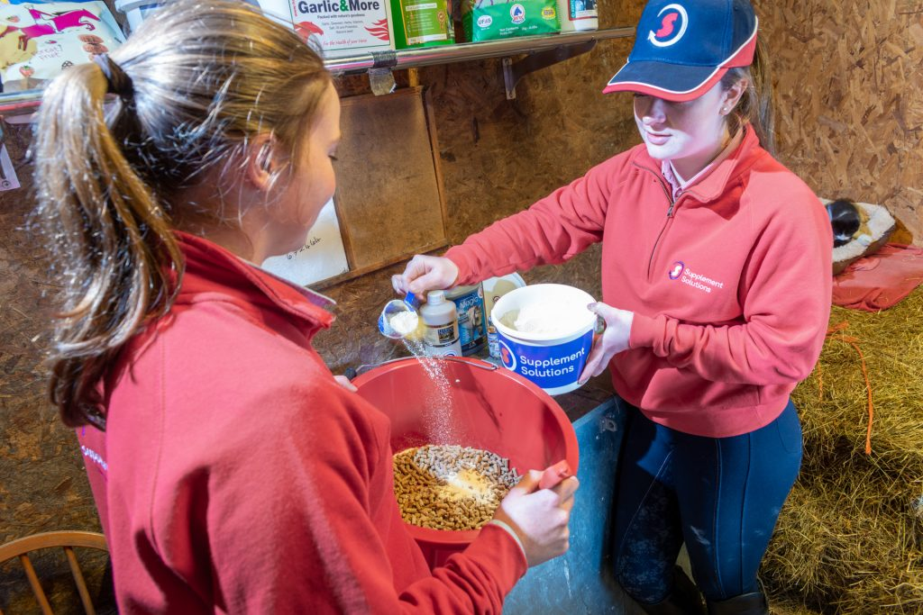 Adding horse supplements to feed